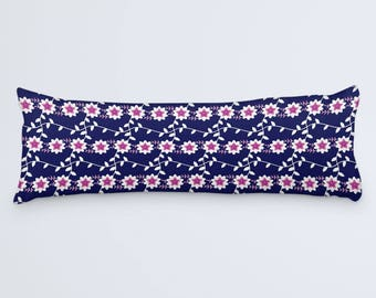 Bohemian Body Pillow, Body Pillow Cover, Navy White Pink, Modern Bed Pillow, Flower Patterned Decor Pillow, 20x54 Cushion Cover
