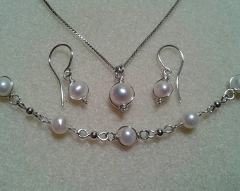 Sale! Sterling Silver Wire Wrapped Freshwater Pearl Necklace Bracelet And Earring Set