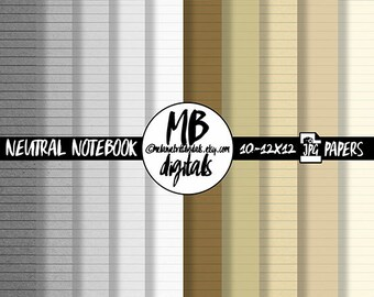 NOTEBOOK Digital Paper, Neutral Notebook, Notebook Papers, School Papers, Ruled Notebook, INSTANT DOWNLOAD