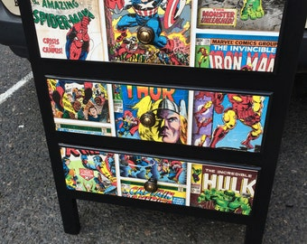 NOW SOLD - Retro upcycled 1960s Chest of Drawers, Superhero and Farrow & Ball Pitch Black