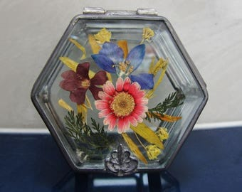 Glass Trinket Box with Pressed Flowers/Papel Giftware Glass Trinket Box
