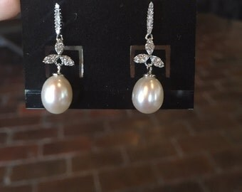 AAA white freshwater pearl dangle earrings with sterling silver three-pedal leaves