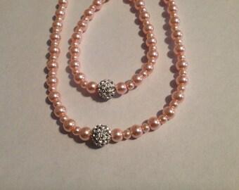 Pink 2 PC necklace and bracelet set