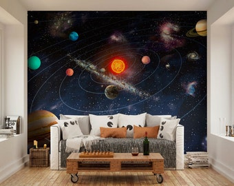 Photo Wallpaper Wall Murals Planets Of The Solar System Space Wall Decals Bedroom Decor Living Room Home Design Wall Art Decals 15