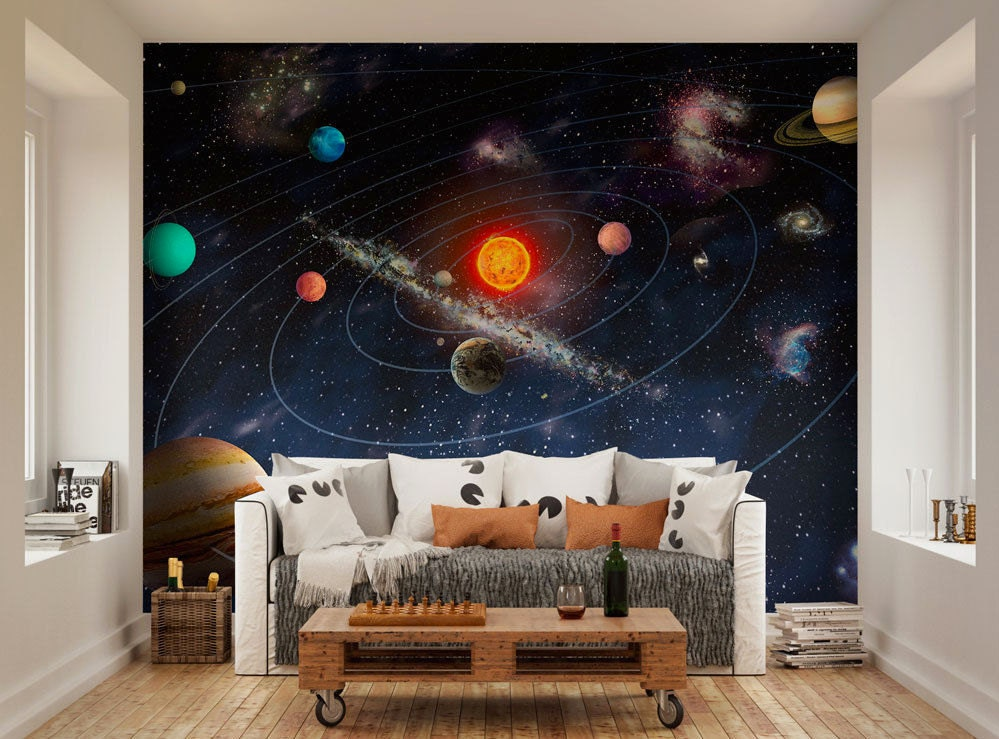 Photo Wallpaper Wall Murals Planets Of The Solar System Space Wall Decals Bedroom Decor Living Room
