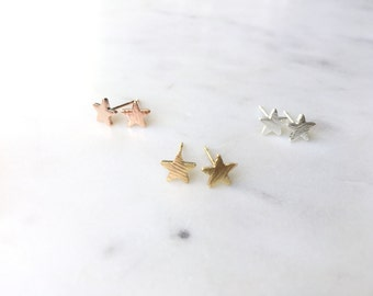 Cute Dainty Stud Star Earrings Tiny Minimalistic Jewelry Bridemaids Gift Idea Birthday Gift Everyday Earrings Small Stud Textured AAEAAP