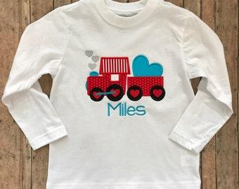 Train Puffing Hearts Applique Shirt
