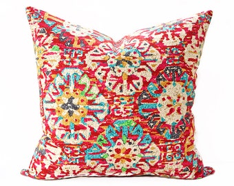 Red ikat pillow cover - Bright red and Turquoise pillow - Southwest pillow cover - Boho pillow - Red pillow - Multi-color pillow