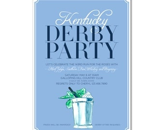 Kentucky Derby 5x7 Invitation with hand-painted Mint Julep - 143rd Run for the Roses - Printable and Personalized