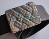 Celtic knot pattern Belt Buckle, Bronze, Unique, Handmade, One of a Kind Hand carved, for him, men's belt, women's belt, Waldorf Jewelry