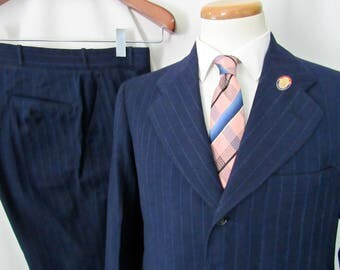 Vintage 1940s (DATED 1943) Wool 2pc Pinstripe Suit ~ 38 S ~ jacket / Button-Fly pants ~ WWII ~ Bespoke