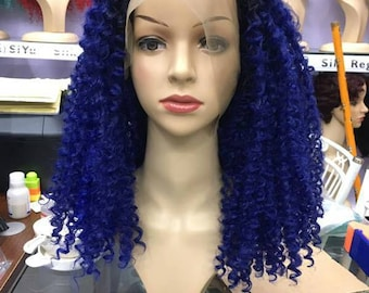 "High Quality Synthetic Curly Wig, 22"" Deep Blue Wig, Heat Resistant Hair Fibre"