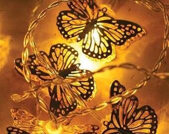 LED String Lights Party Decor - Golden Butterflies