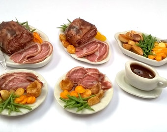 Miniature Food - Dolls House Food; ROAST BEEF Dinner For 2 - Serving Dish + 2 Meal Plates [ 3 item] - OOAK: Dolls House Magazine, April 2017