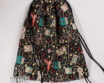 Black Retro Gamer Controller Drawstring Bag - Ready to Ship!