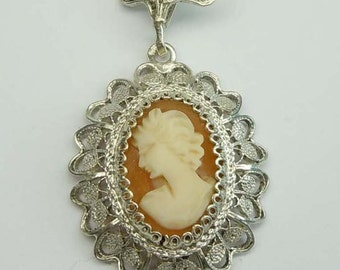 Vintage Filigree 800 Silver Carved Female Cameo Pendant Necklace