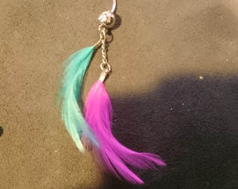 Cotton candy feather bellyring