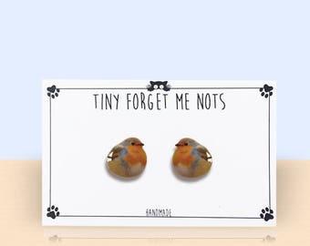 Bird Stud Earrings - Robin Bird Stud Earrings - Bird Earrings - Robin Redbreast Stud Earrings - Bird Jewelry - Bird - Earrings