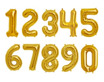 Number Balloons Gold - 16 inches or 34 inches - mylar foil letter balloon banner kit