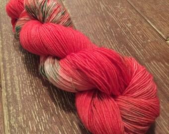Hand Dyed Superwash BFL Sock Yarn, 100g/3.5oz, 'Fezziwig', Christmas Yarn