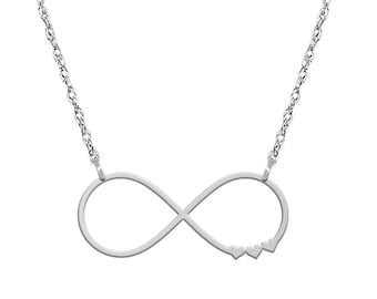 Infinity Symbol Hearts Silver (.925) Necklace