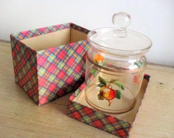 Vintage Jam/Preserve Pot Lidded Vintage Glass Jam Pot 1950s Retro Preserve Pot Colourful FRUIT Design FULLERS Dublin Ltd Original Tartan BOX