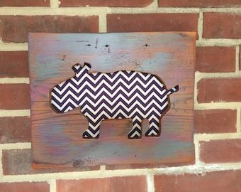 Hippo Silhouette Wall Art- Reclaimed Wood