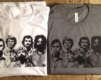 Grateful Dead t- shirt screen print Jerry Garcia Bob Weir Phil Lesh Mickey Billy Phish