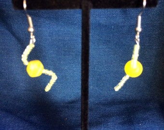 Yellow beaded twisted earrings
