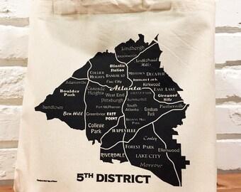 Atlanta Map Tote Bag, 5th District, Canvas Bag, Reusable Bag, Grocery Bag, Book Bag, Market Bag, Summer Bag