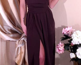 Dark Brown Maxi Dress V- Neck Sleeveless Slit