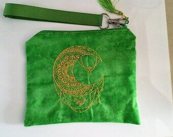 Golden Mehndi Moon Wristlet with Detachable Handle