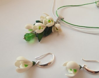 Snowdrops set snowdrops pendant necklace snowdrops earrings white flowers polymer clay jewelry gift for her spring flowers floral jewelry