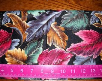 Destash- 1 Full Yard Black Leaf Print Decor Weight Vintage Fabric