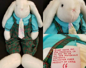 """Dakin Easter Bunny Rabbit Plush Stuffed Animal With Green Plaid Overalls And Pastel Neck Tie 22"""" Tall 1993"""
