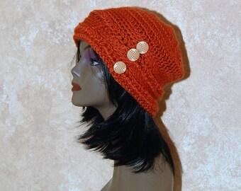 Burnt Orange Crochet Hat