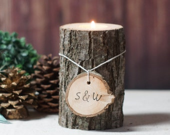 Personalized Candle Holder Valentines Gift Personalized Gifts Rustic Home Decor Gift For
