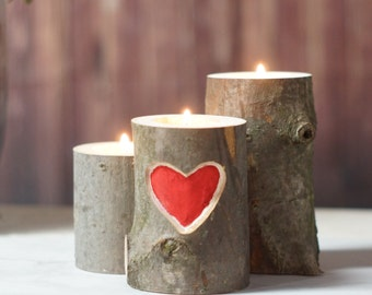 Carved Heart Rustic Tealight Holder, Hand Painted, Red Heart, Rustic Home Decor, Valentines Decor, Gifts for her, Valentines Gift, Wedding