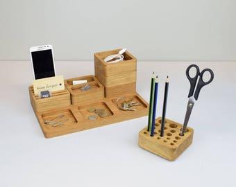 Wooden Desk Tidy, Oak Desk Organiser, Stacking Office Desk Set, Pen Holder, Coin Tray, Phone Stand, Stationery Organizer, Gift for Dad