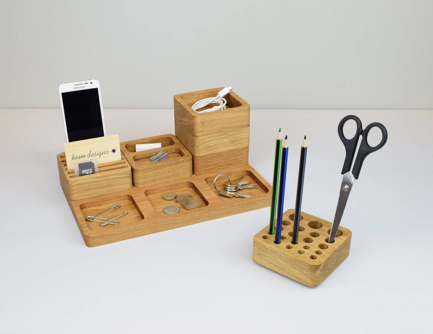 Oak Desk Organizer ~ Wooden desk tidy oak organiser stacking office