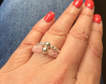 ROSE QUARTZ Sterling Silver STRETCH ring - January Birthstone Jewellery gift