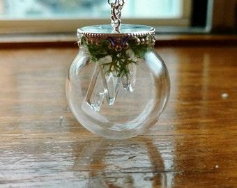 Clear Quartz Stalactite Terrarium Necklace