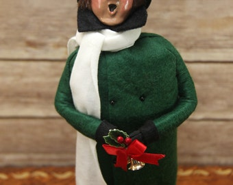Byers Choice Caroler ~ Adult Male in Green Coat with Scarf and Hat ~ circa 1993 ~ The Carolers ~ Nice Condition!