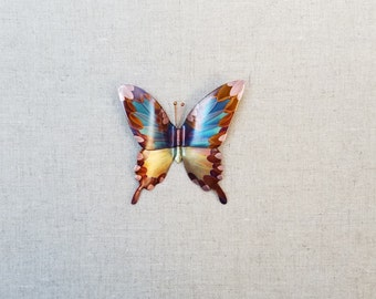 Flame painted copper 2pc. Swallotail Butterfly, pin