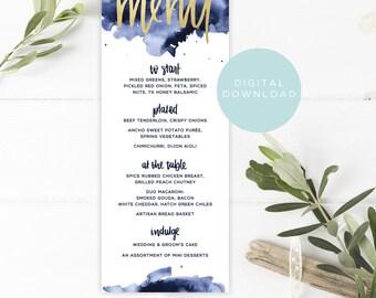 watercolor menu printable // custom designed handwritten downloadable menu // wedding reception decor // navy wedding menu digital design