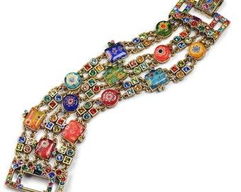 Sweet Romance Slinky Art Deco Millefiori Glass Crystal Bracelet, Millefiori Jewelry, Murano Glass, Art Deco Jewelry, Rainbow Bracelet BR400