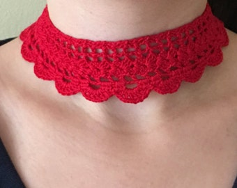 "Lace Choker Handmade Crochet Red Collar Necklace - 11.5"" Handmade Crochet - No Metal - Item N37"