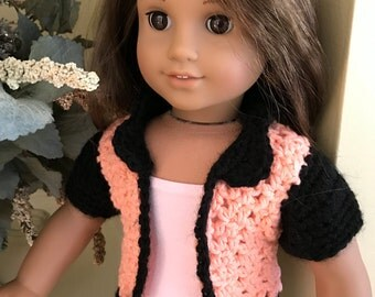 "Jacket for 18"" American Girl Doll - Handmade Crochet in Peach and Black - Item D14"