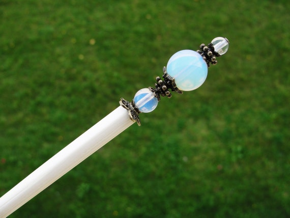 Japanese Wooden Hair Stick With White Opal Gemstone