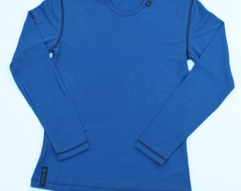 Womens Blue Long Sleeved Base Layer | Merino Wool Base Layer | Womens Long Sleeved Top | Womens Singlet | Womens Thermal Top | Skiing Top